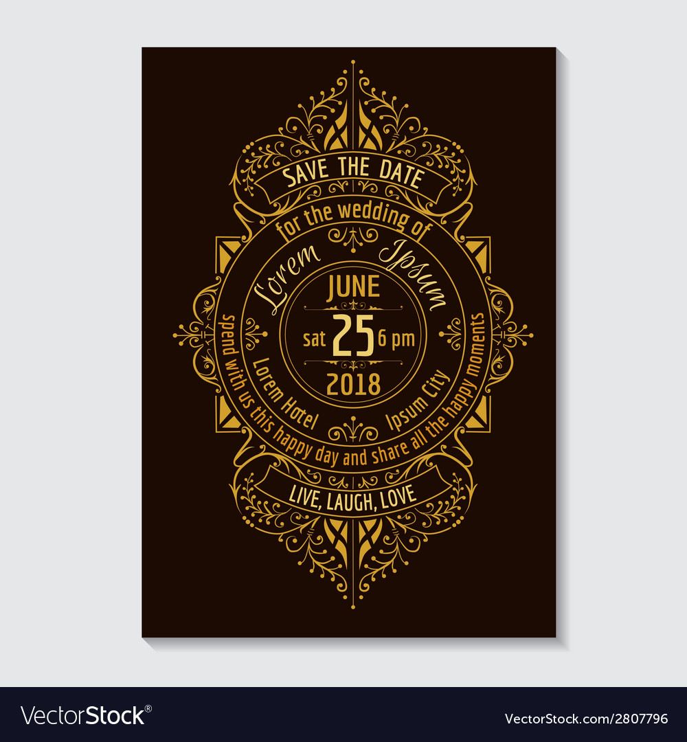 Wedding invitation card - calligraphic design vector | Price: 1 Credit (USD $1)