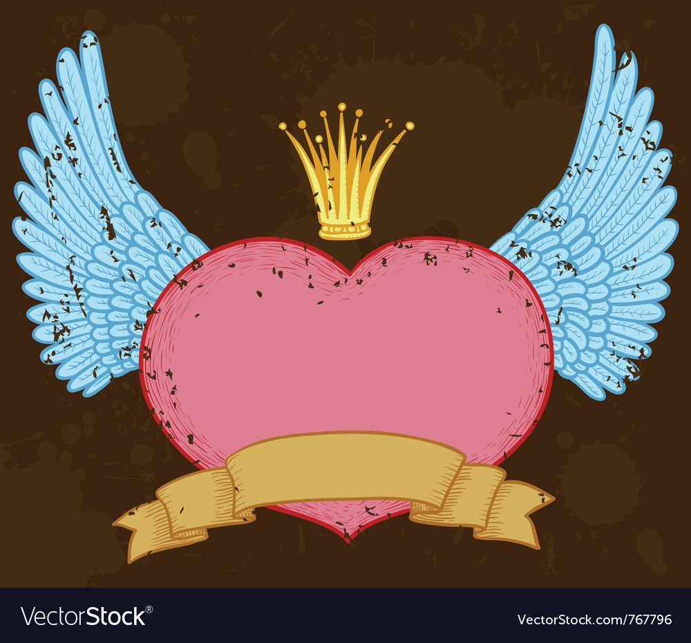 Winged heart banner with crown vector | Price: 1 Credit (USD $1)