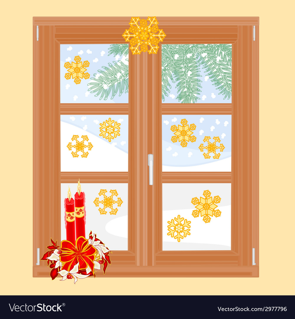 Winter window with christmas decorations vector | Price: 1 Credit (USD $1)