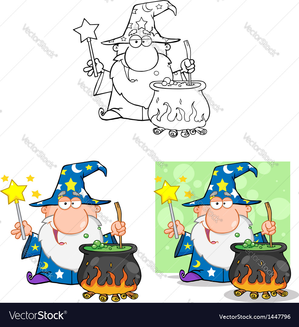 Wizard waving preparing a potion collection vector | Price: 3 Credit (USD $3)