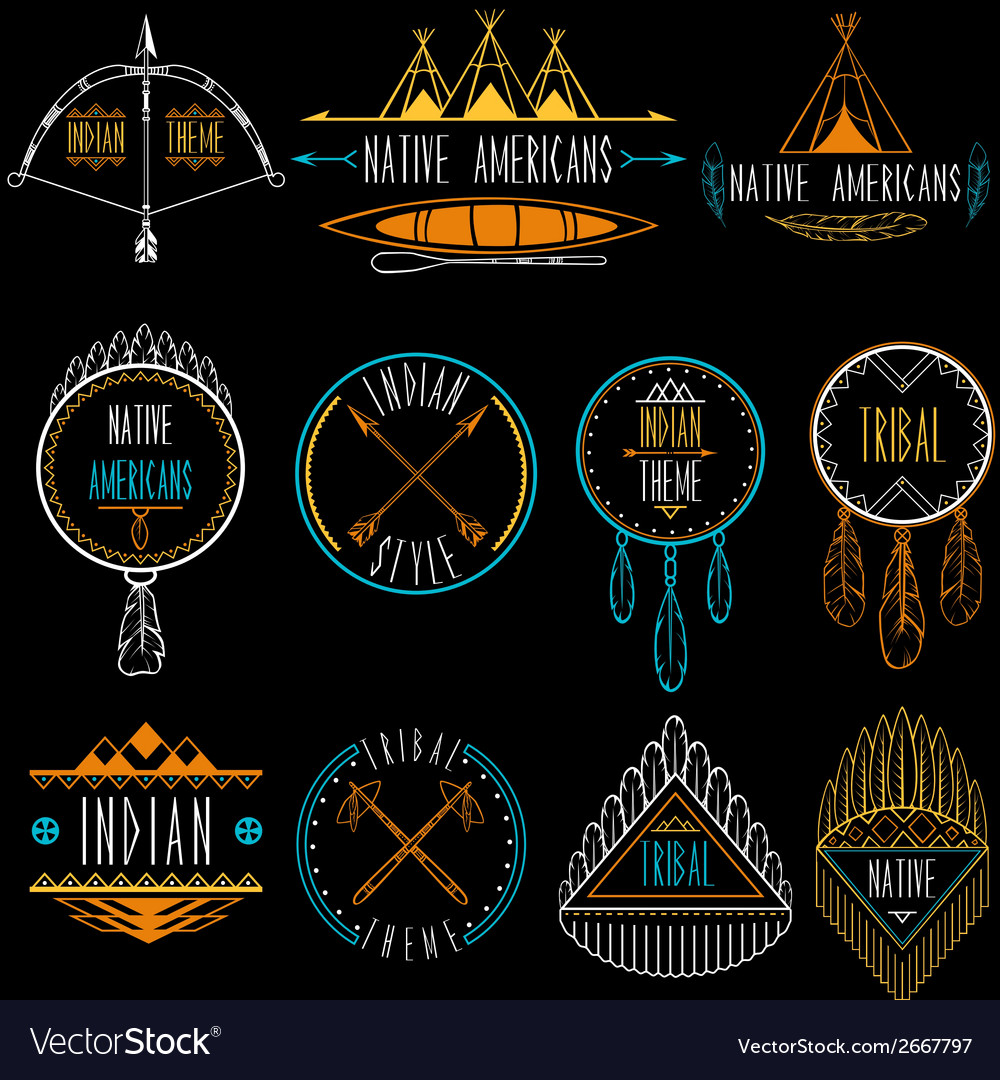 Collection of badges and labels in indian tribal vector | Price: 1 Credit (USD $1)