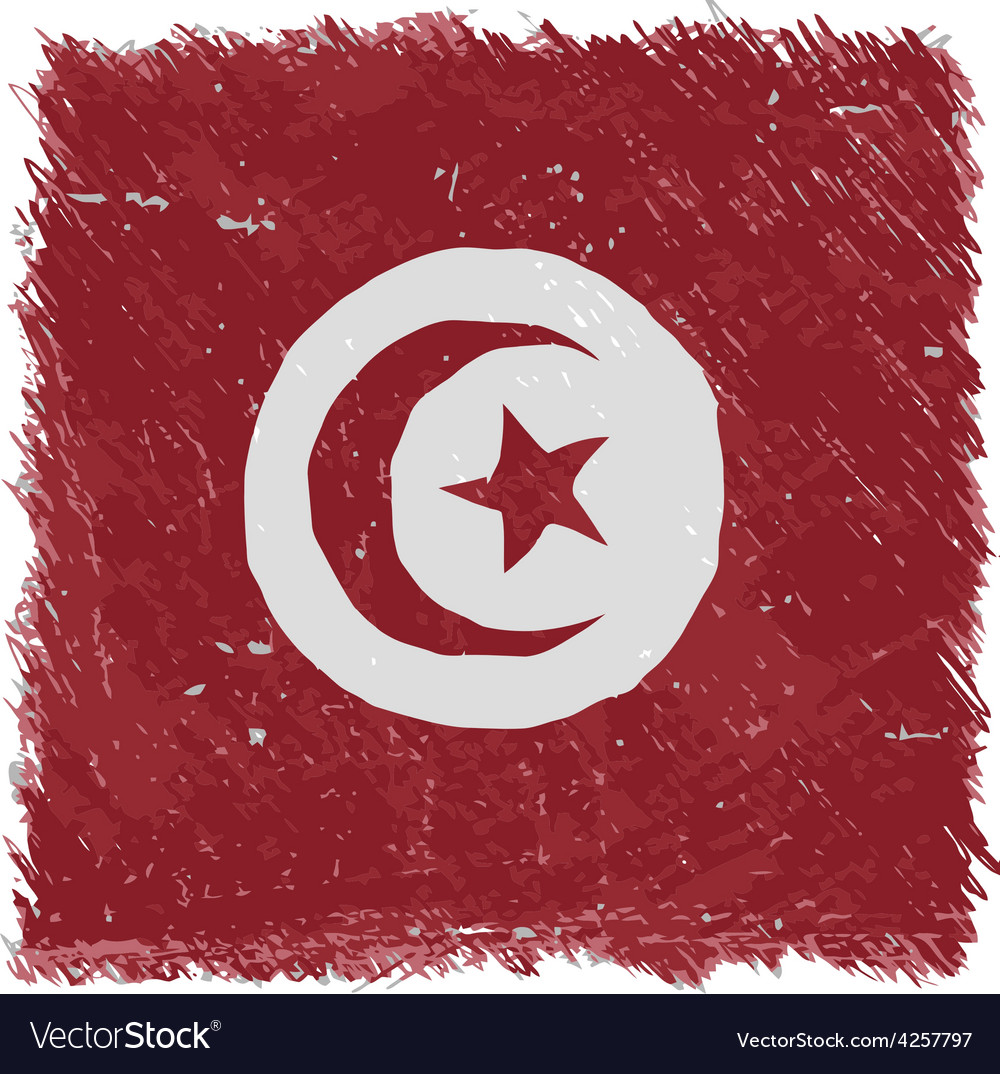Flag of tunisia handmade square shape vector | Price: 1 Credit (USD $1)