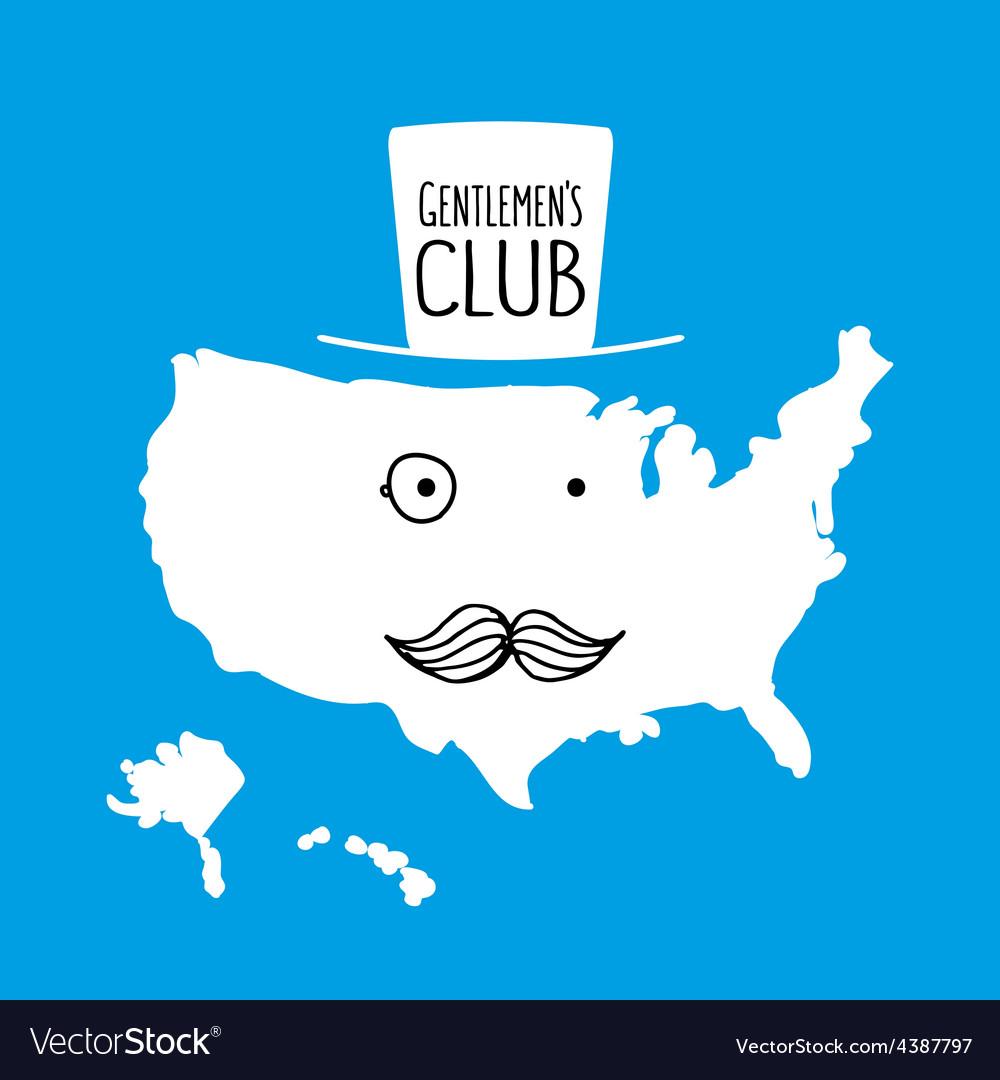 Fun hand drawn moustache cartoon america map vector   Price: 1 Credit (USD $1)