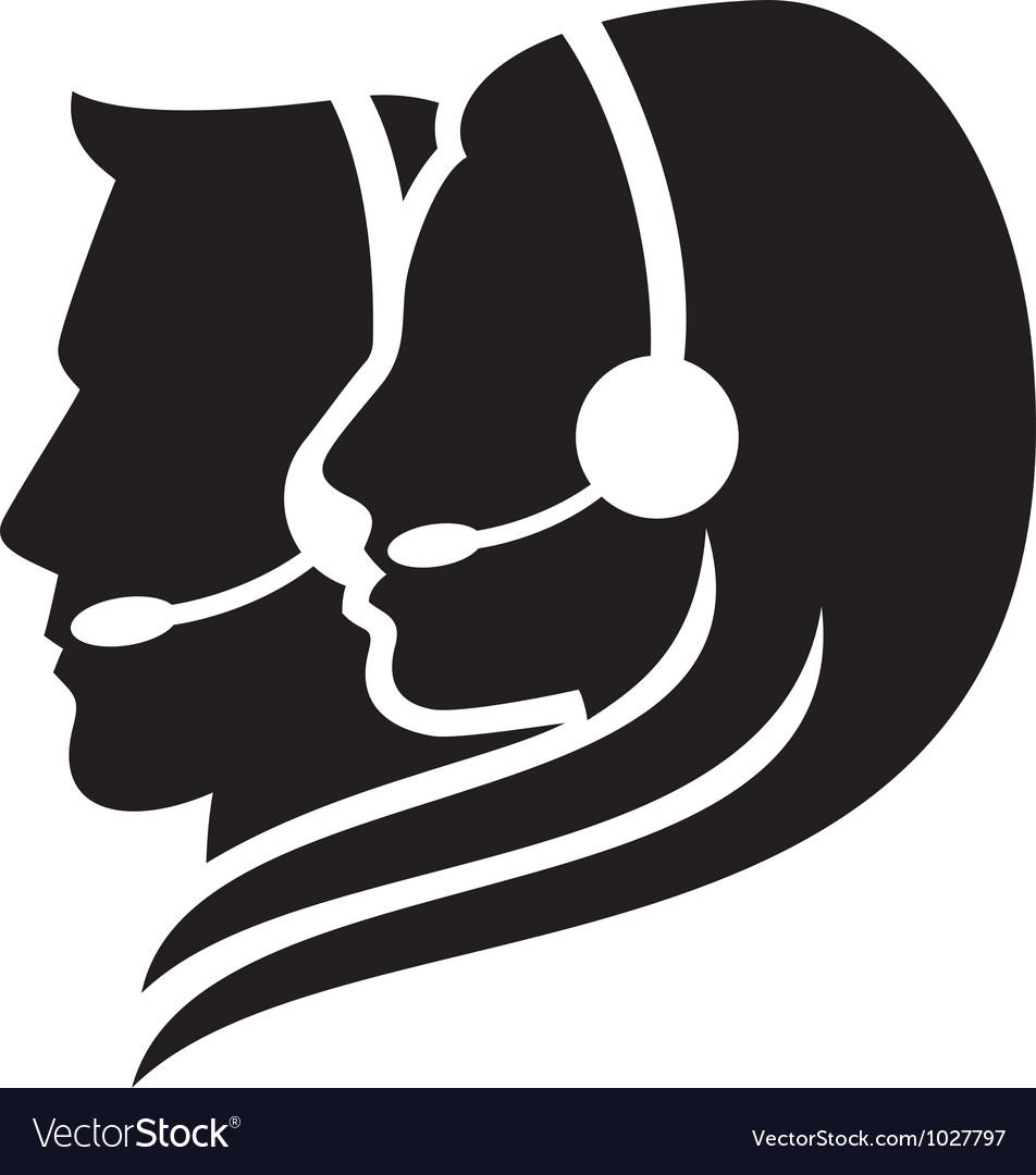 Headset symbol  center icon vector