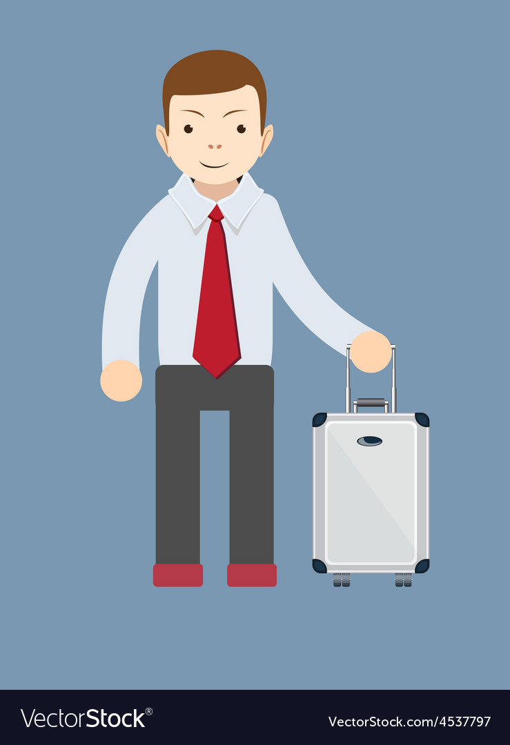 Office worker with a bag for travel vector | Price: 1 Credit (USD $1)