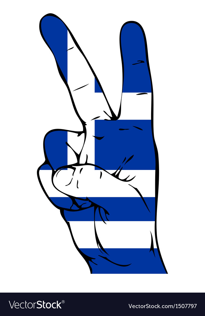 Peace sign of the flag of the greece vector | Price: 1 Credit (USD $1)