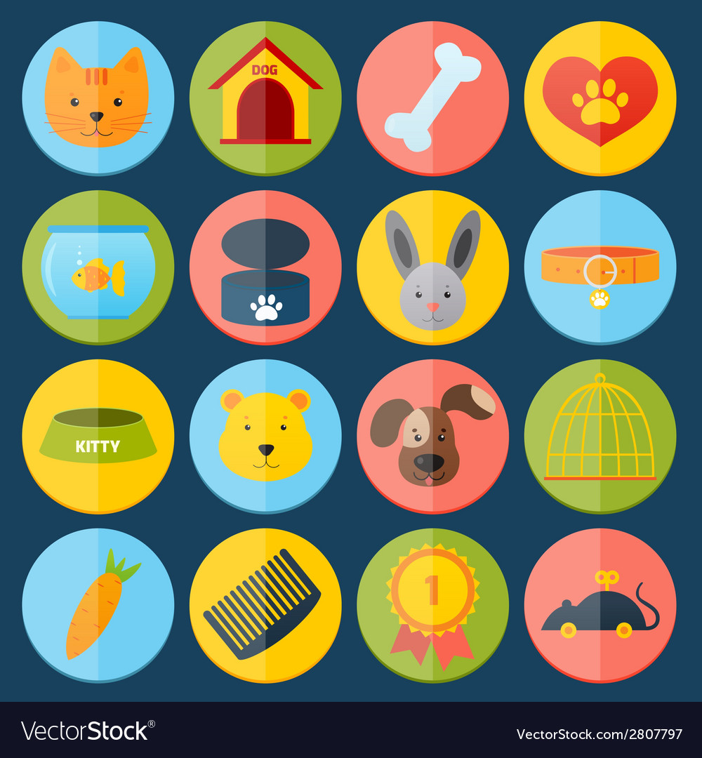 Pets icons set vector | Price: 1 Credit (USD $1)