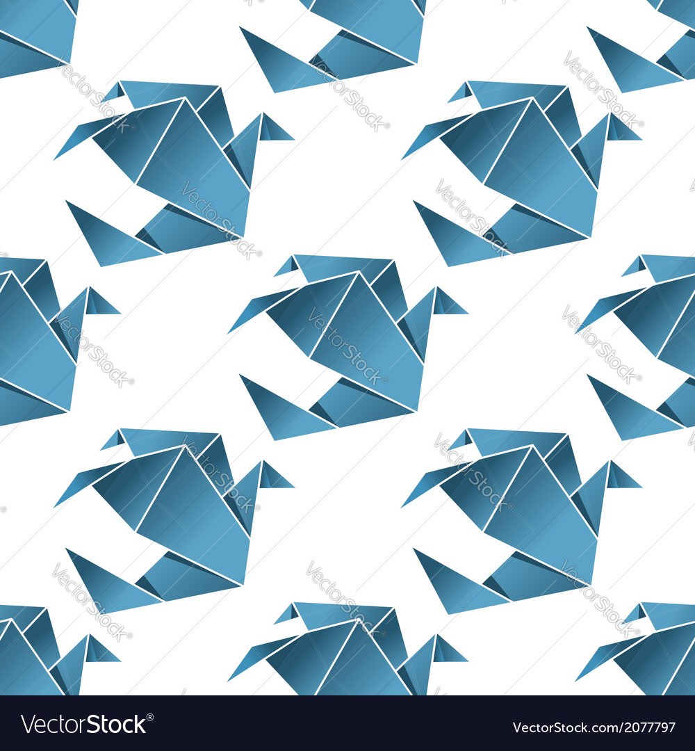Seamless pattern of origami birds vector | Price: 1 Credit (USD $1)