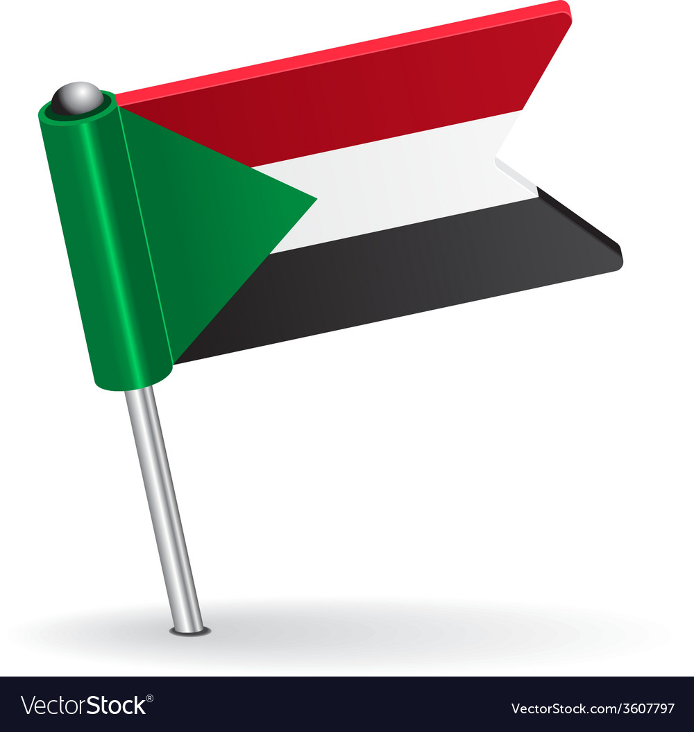 Sudan pin icon flag vector | Price: 1 Credit (USD $1)