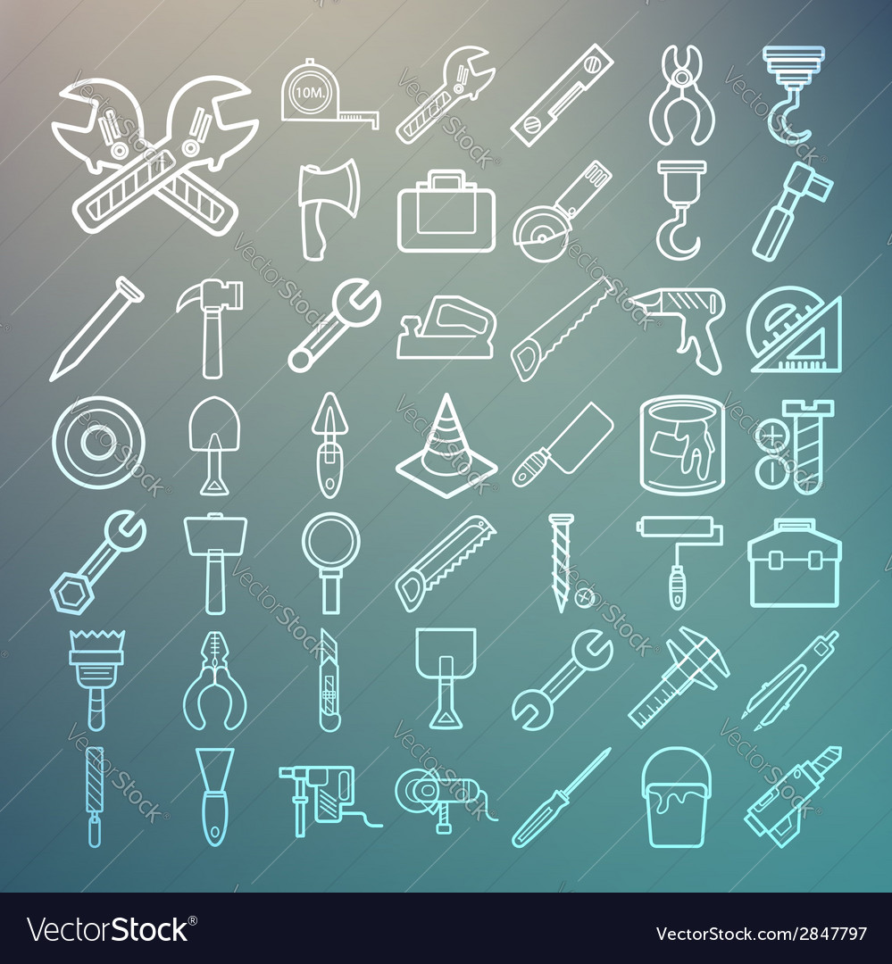 Tools and equipment icons set on retina background vector | Price: 1 Credit (USD $1)