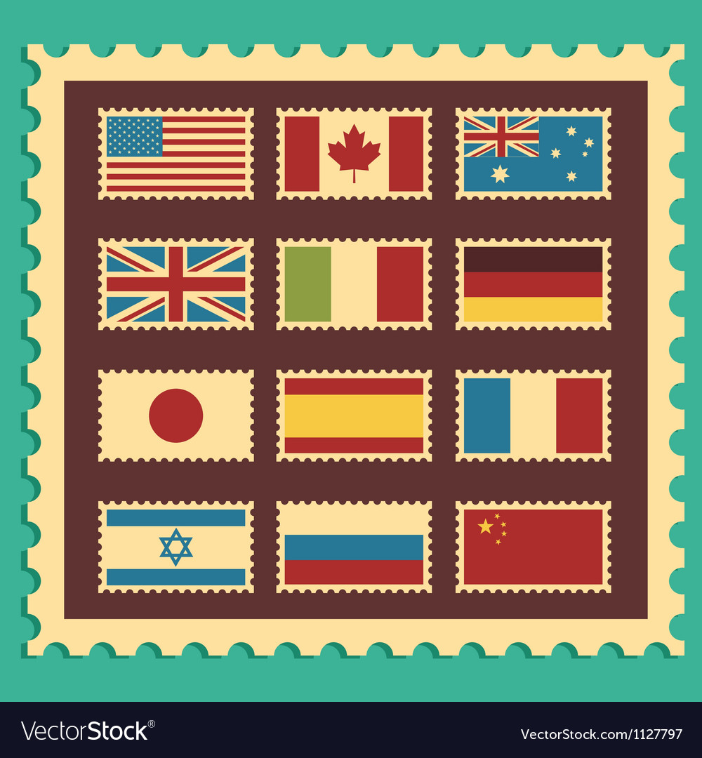 Vintage stamps representing world flags vector | Price: 1 Credit (USD $1)