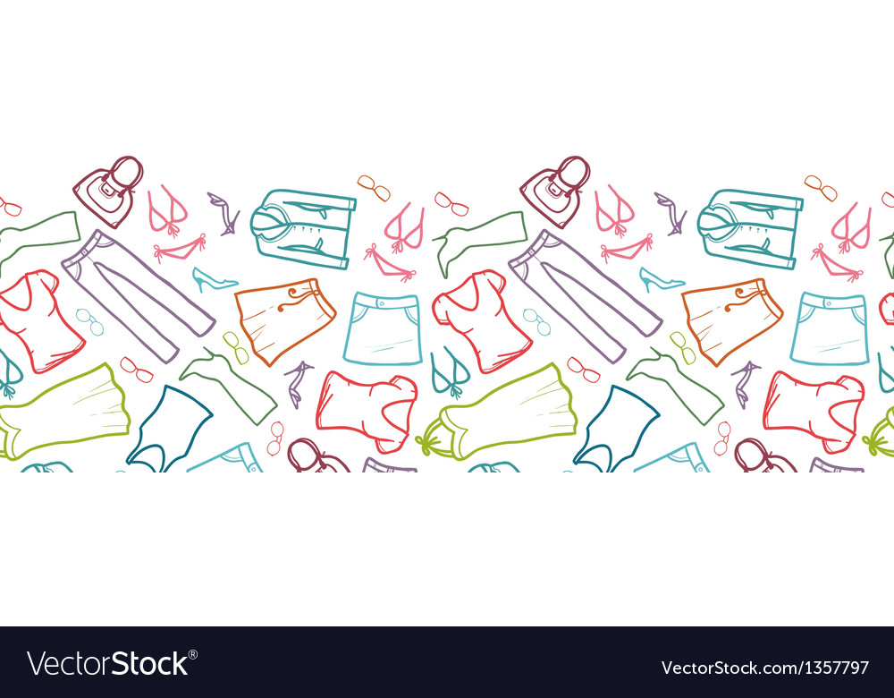 Wardrobe clothing horizontal seamless pattern vector | Price: 1 Credit (USD $1)