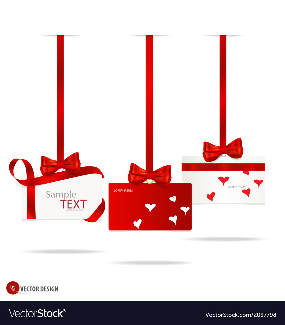Cards with red gift bows and red ribbons vector   Price: 1 Credit (USD $1)