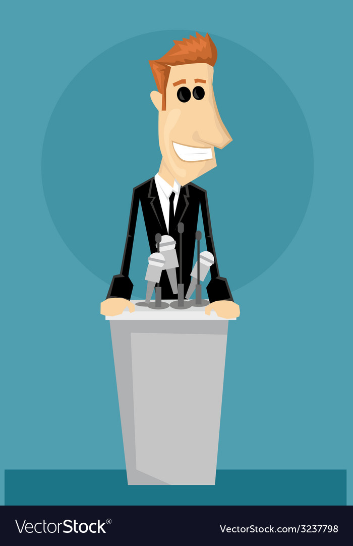 Cartoon office worker in a podium vector | Price: 1 Credit (USD $1)