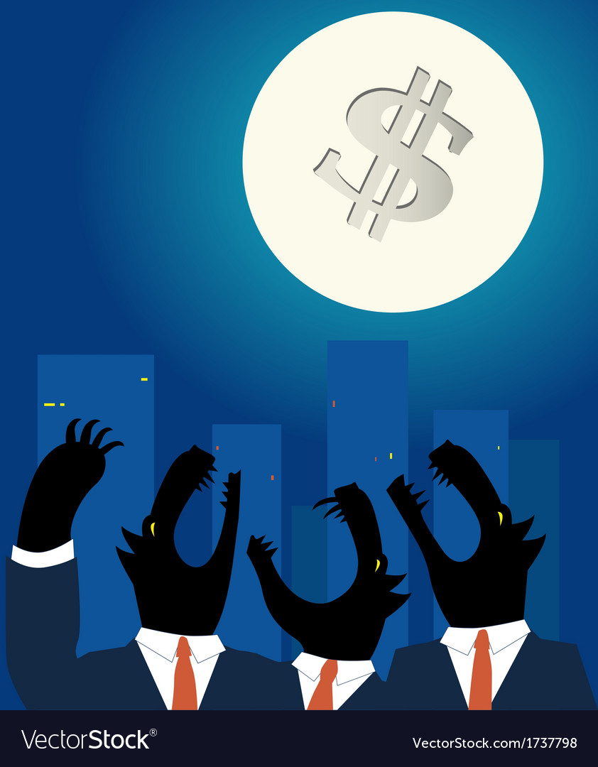 Downtown business wolves holwing at the full moon vector | Price: 1 Credit (USD $1)