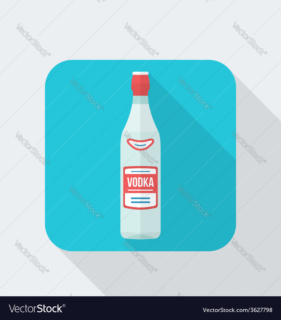 Flat style vodka bottle icon with shadow vector   Price: 1 Credit (USD $1)