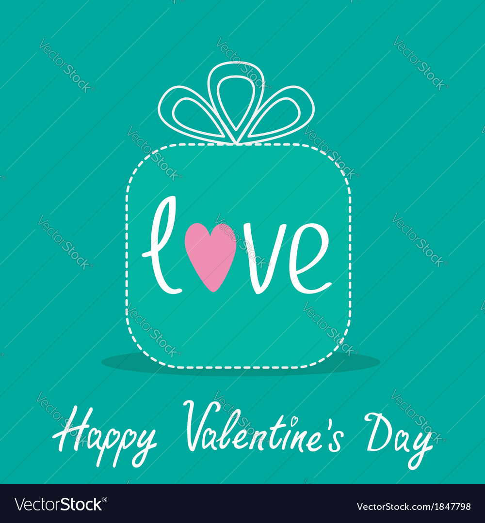 Gift box with word love dash line valentines day vector | Price: 1 Credit (USD $1)