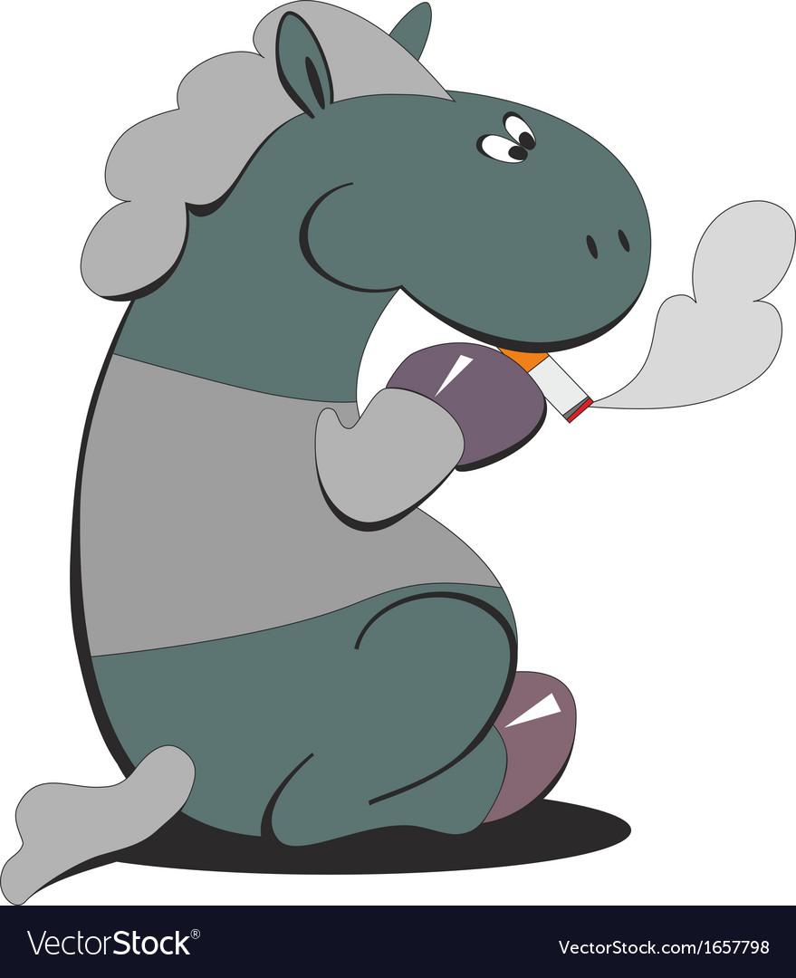 Horse smokes 007 vector | Price: 1 Credit (USD $1)