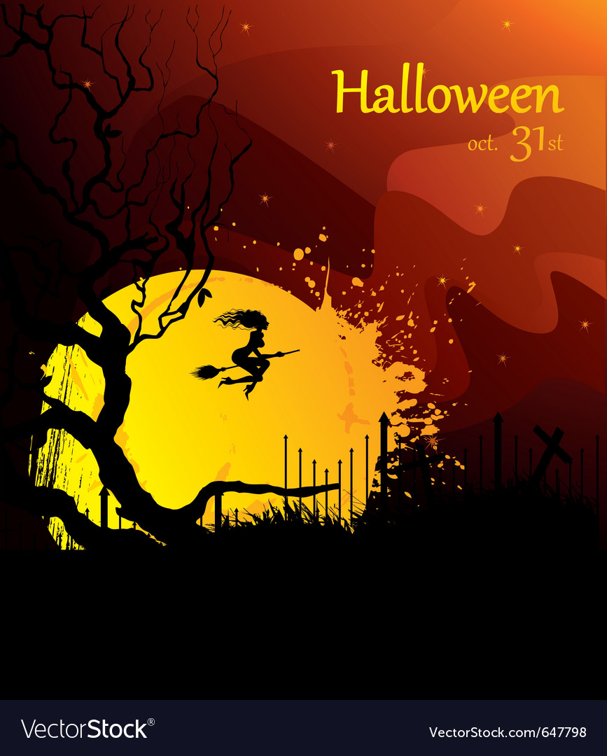 Moon and witch halloween vector | Price: 1 Credit (USD $1)