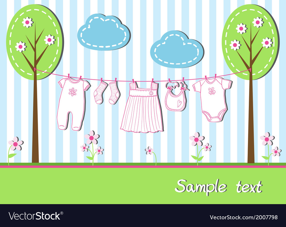 New baby girl card vector | Price: 1 Credit (USD $1)
