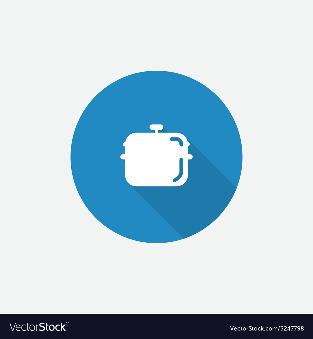 Pan flat blue simple icon with long shadow vector | Price: 1 Credit (USD $1)