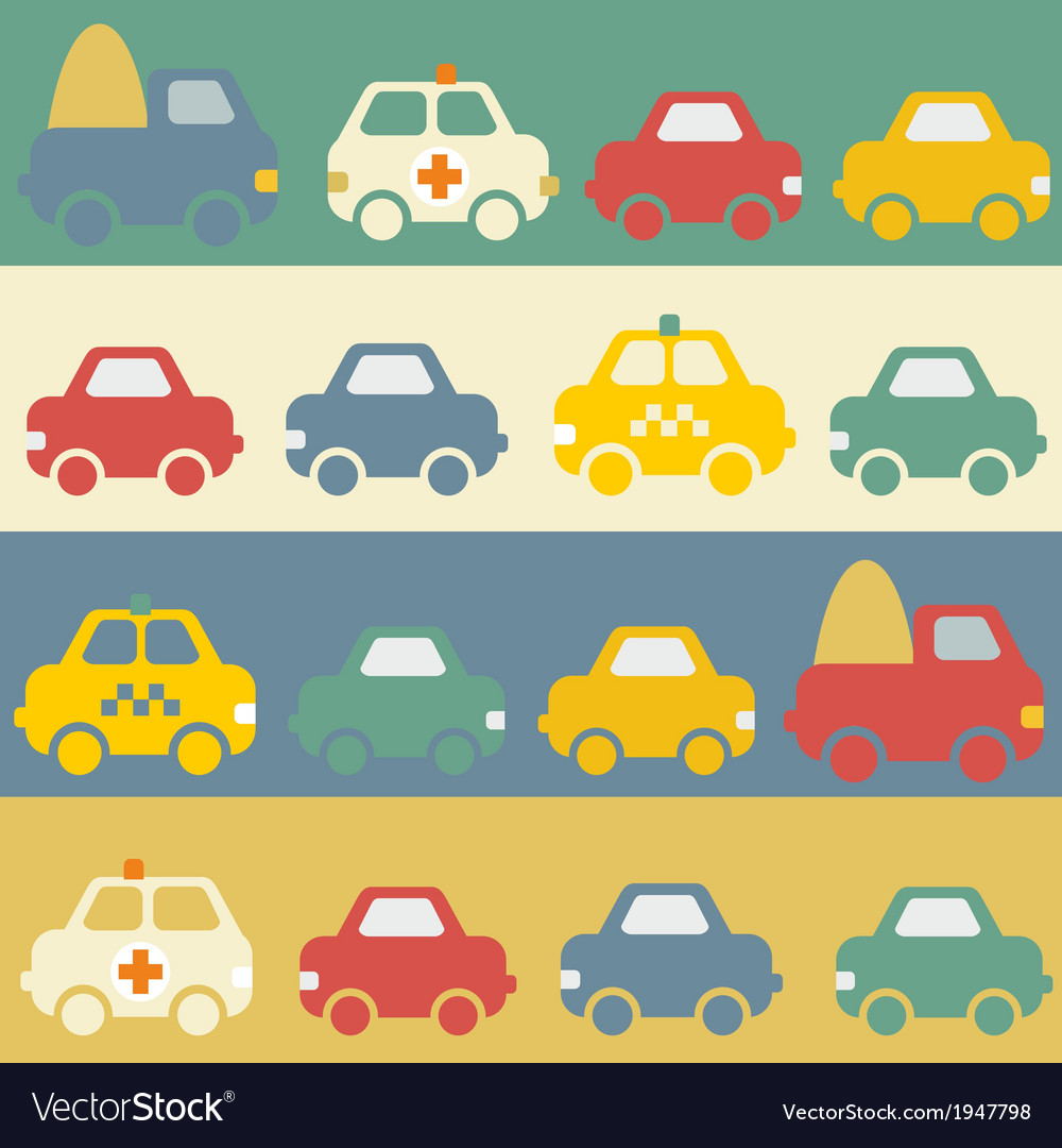 Seamless pattern with cartoon cars vector | Price: 1 Credit (USD $1)