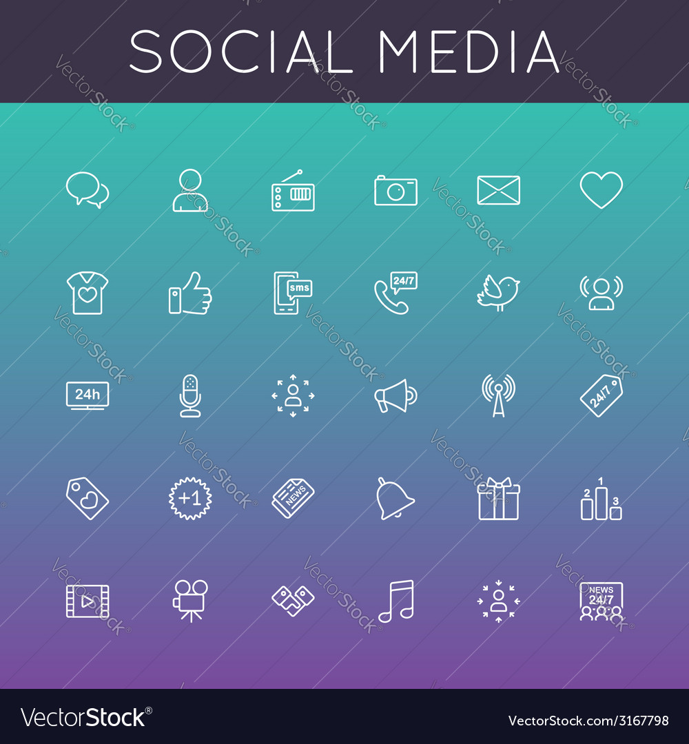 Social media line icons vector | Price: 1 Credit (USD $1)