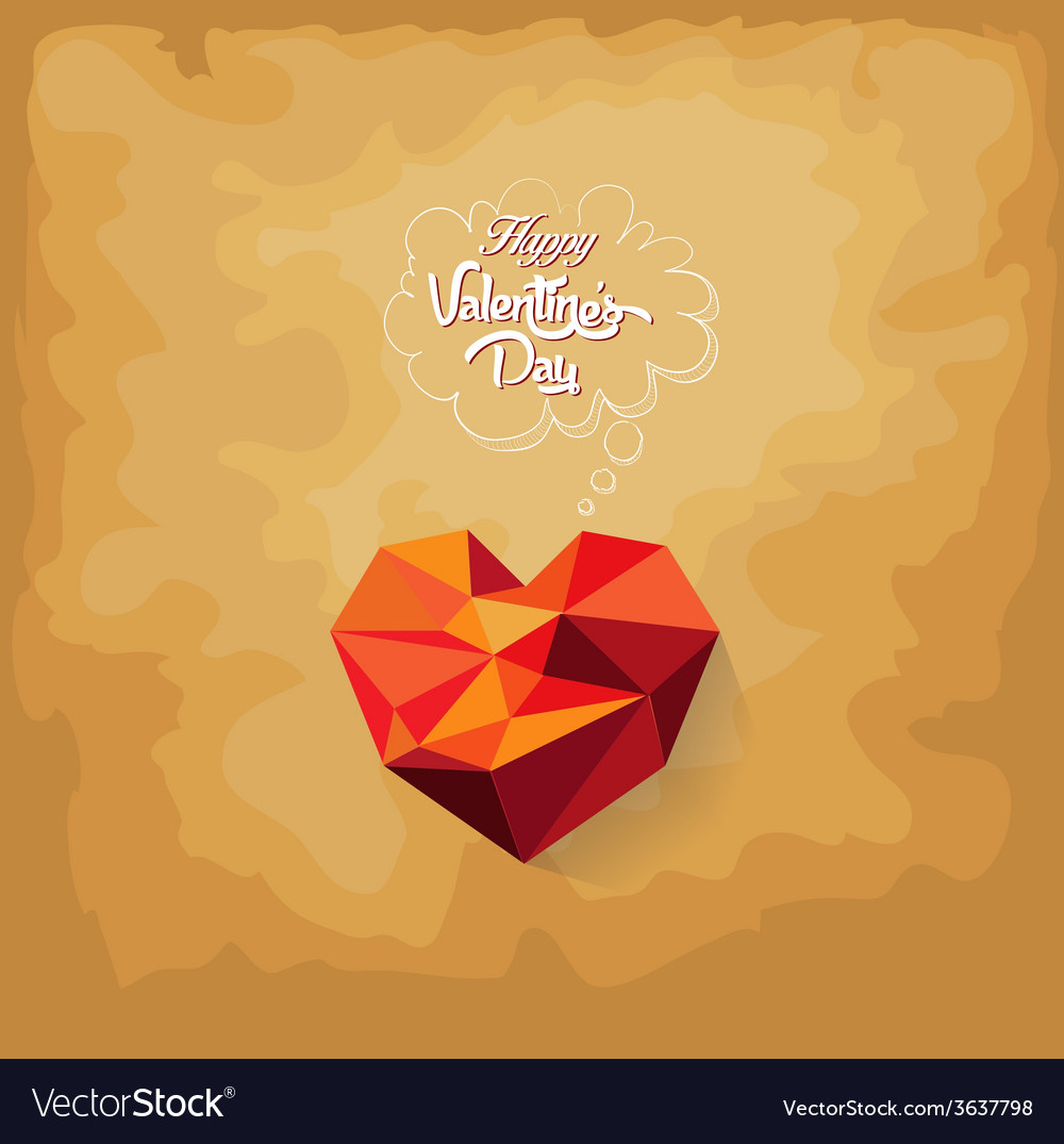 Valentines day with geometrical heart vector | Price: 1 Credit (USD $1)