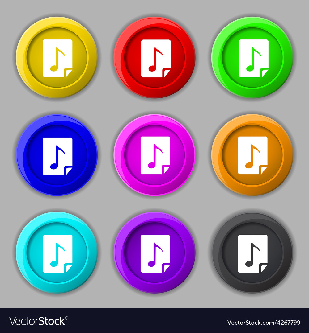 Audio mp3 file icon sign symbol on nine round vector | Price: 1 Credit (USD $1)