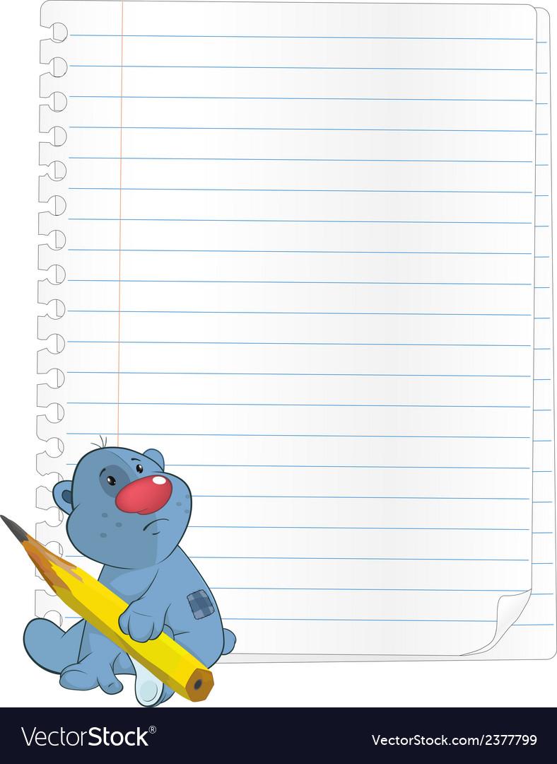 Bear cub a notebook cartoon vector | Price: 1 Credit (USD $1)