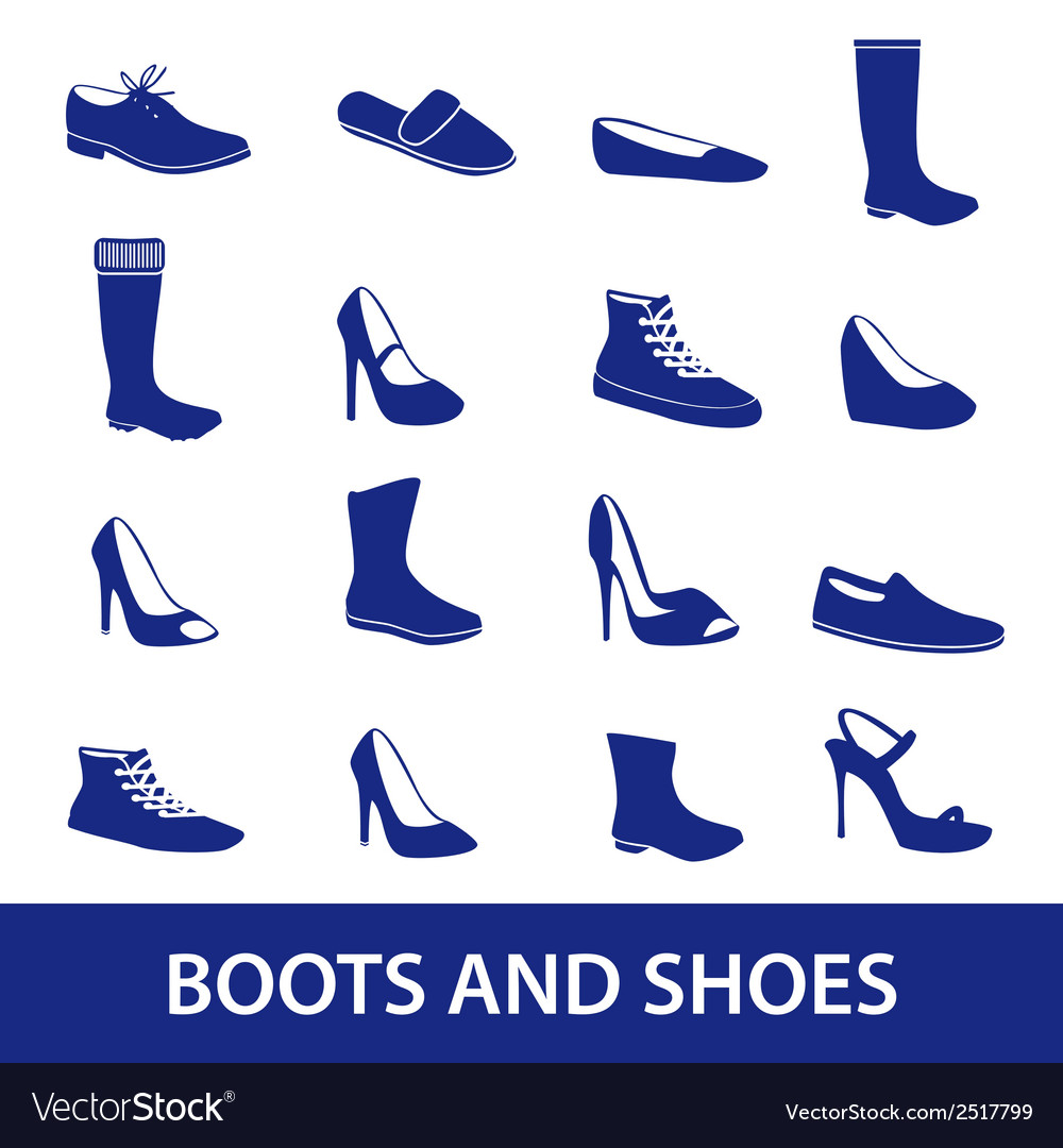 Boots and shoes icons eps10 vector | Price: 1 Credit (USD $1)