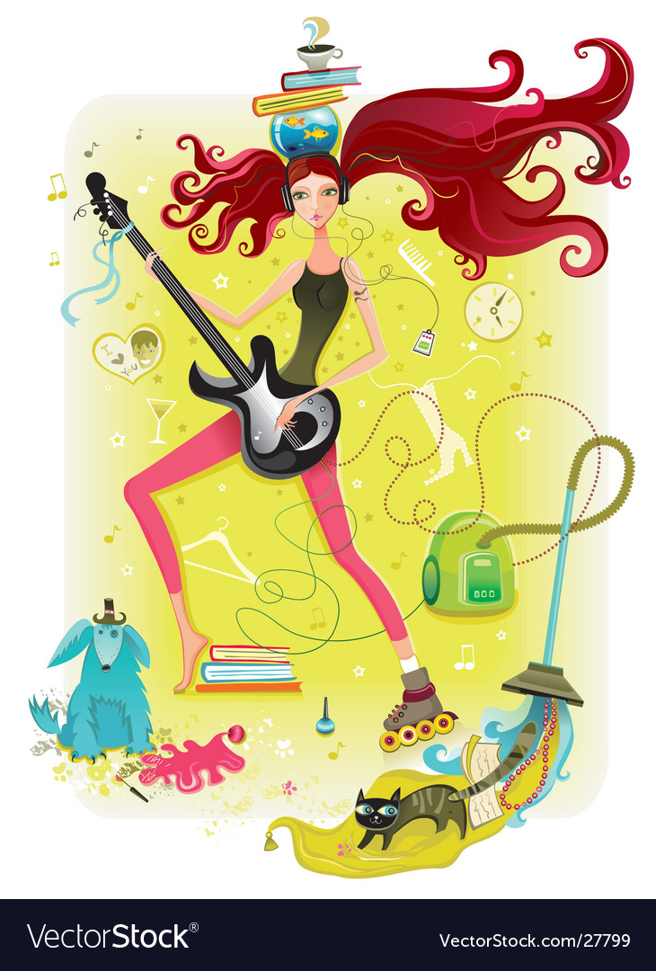 Energetic girl vector | Price: 10 Credit (USD $10)