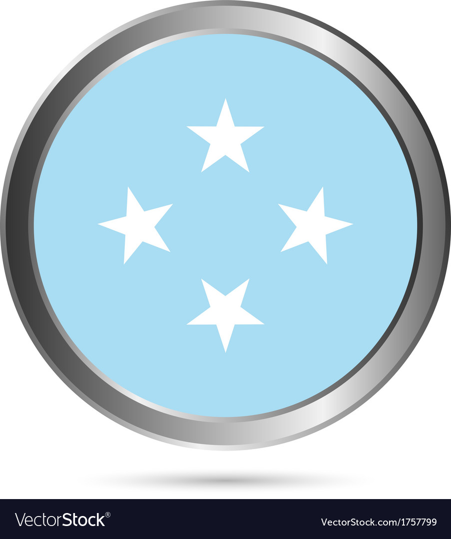 Federated states of micronesia flag button vector | Price: 1 Credit (USD $1)
