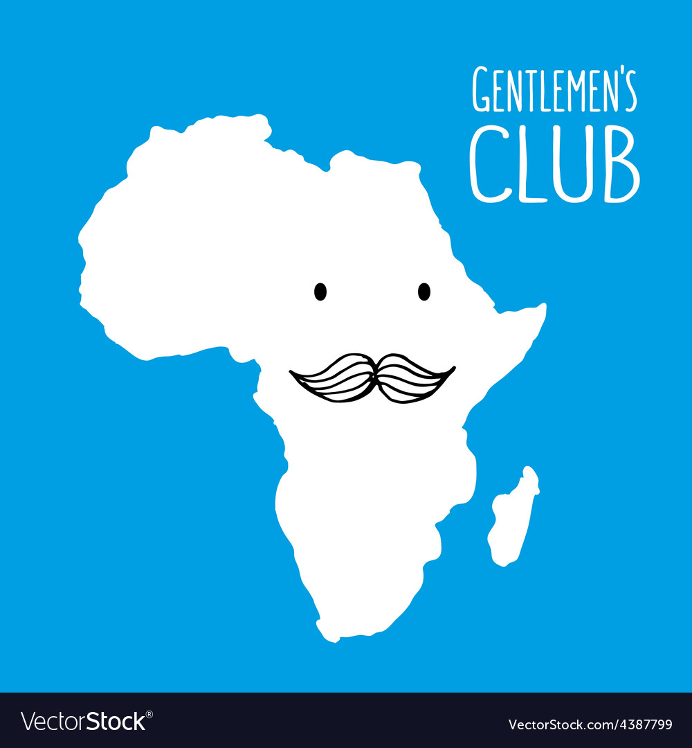 Fun moustache club cartoon africa hand drawn map vector | Price: 1 Credit (USD $1)