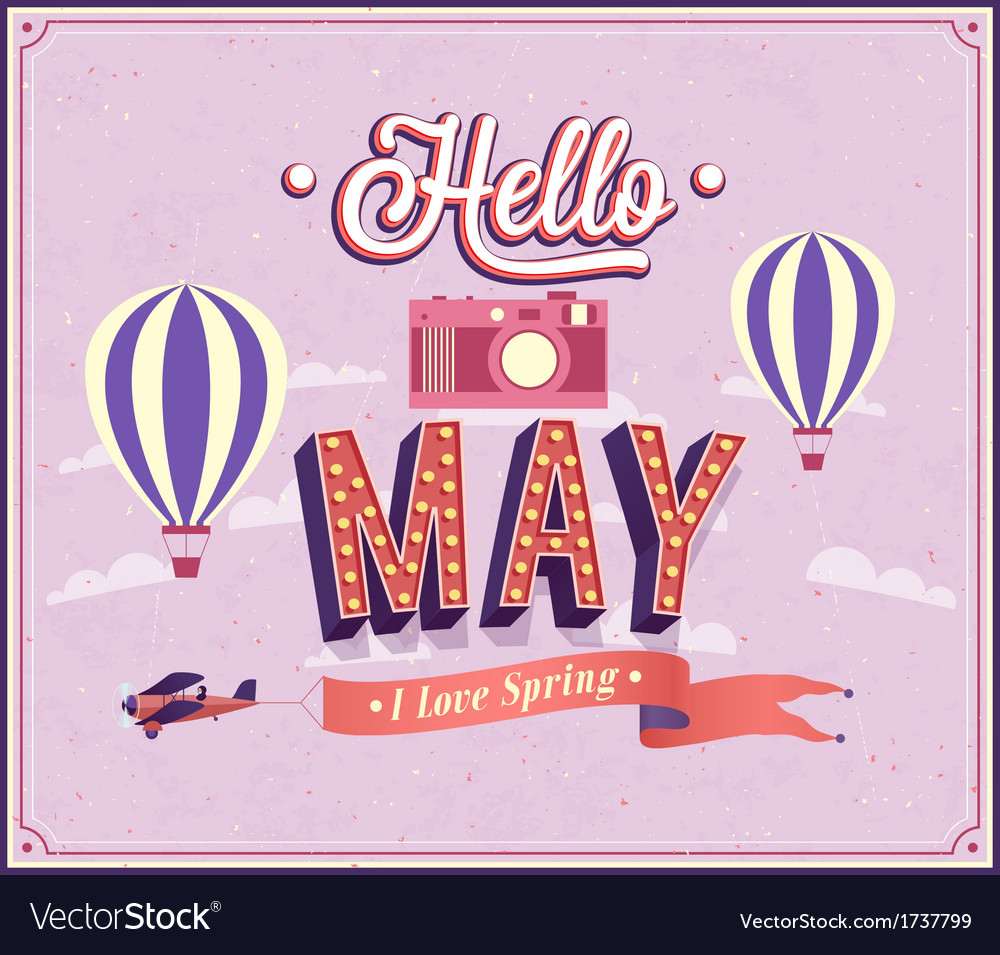 Hello may typographic design vector | Price: 1 Credit (USD $1)