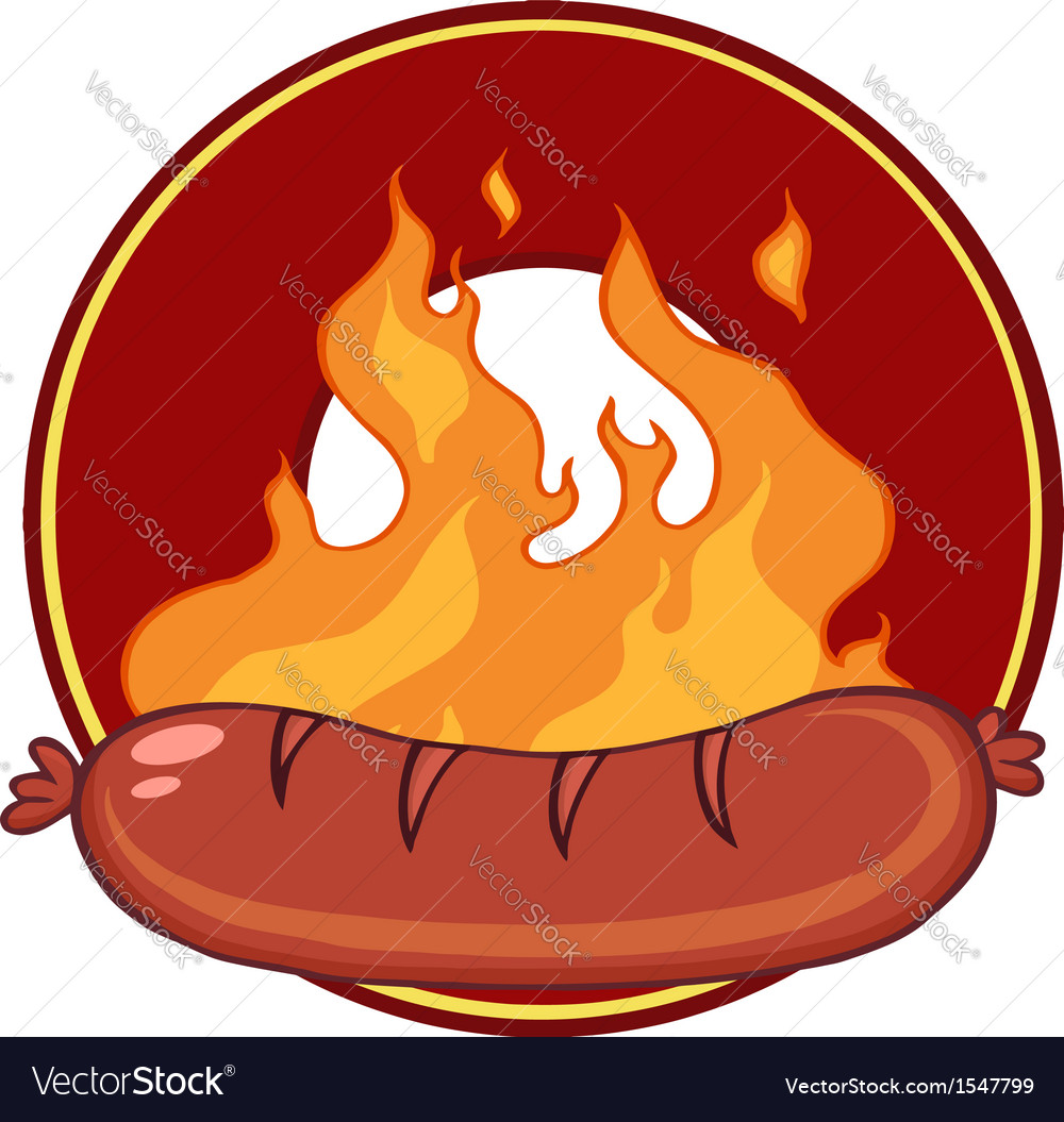 Hot sausage on fire vector | Price: 1 Credit (USD $1)