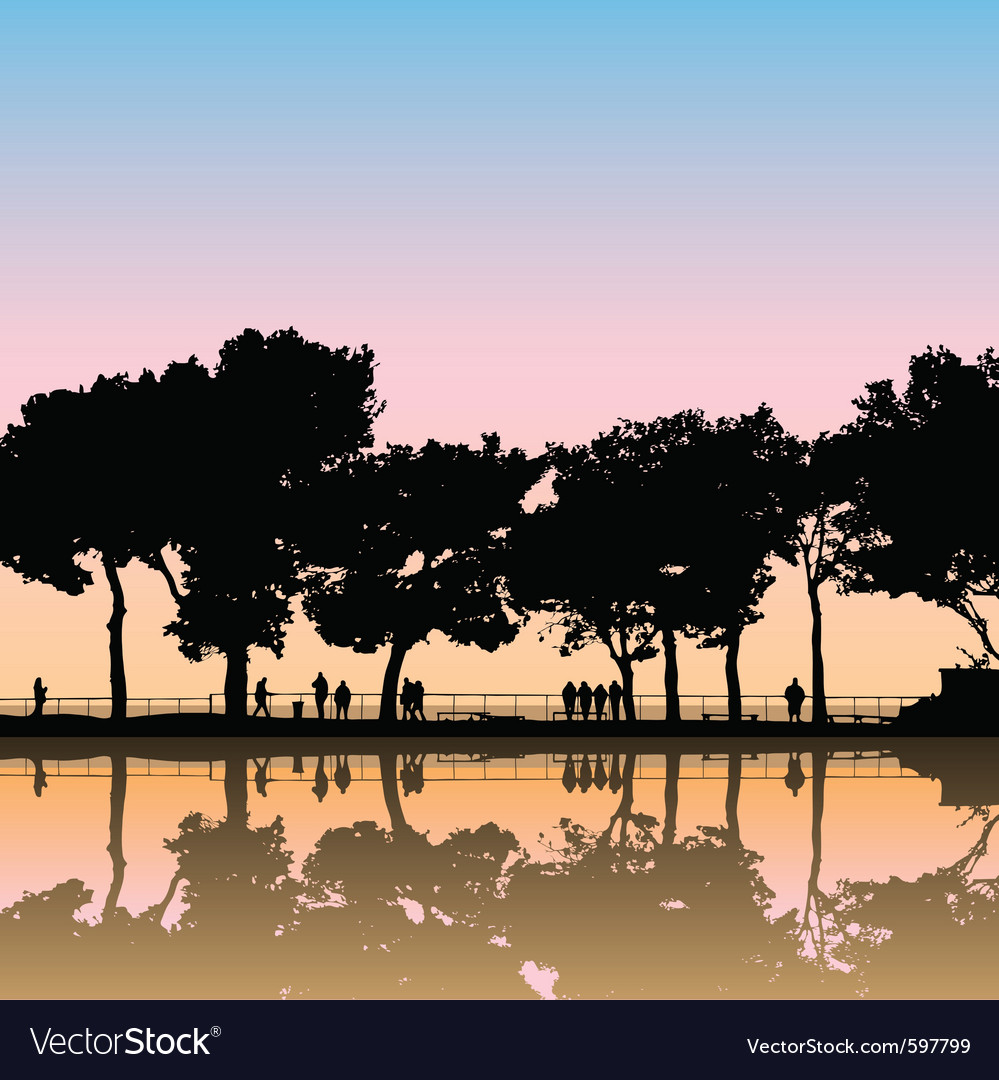 Landscape silhouettes vector | Price: 1 Credit (USD $1)