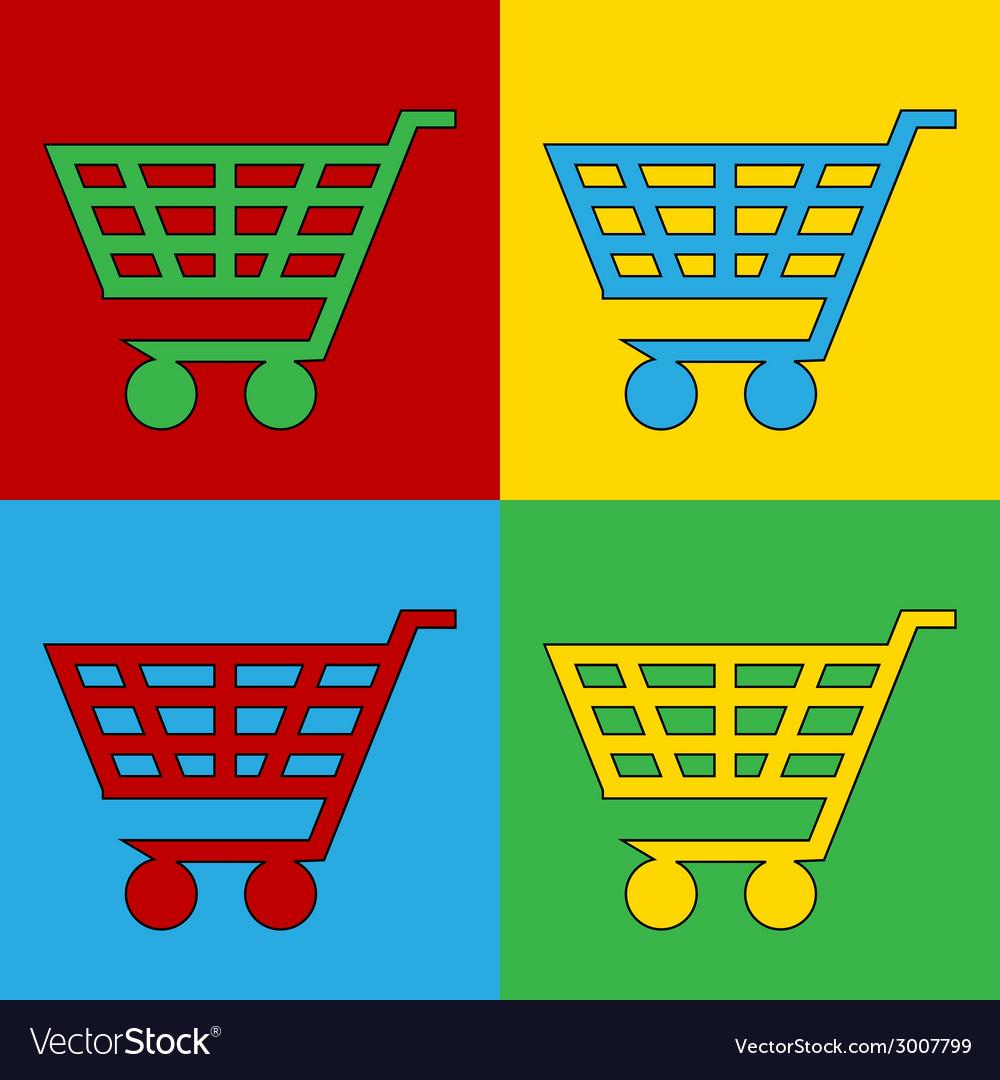 Pop art buy cart vector | Price: 1 Credit (USD $1)