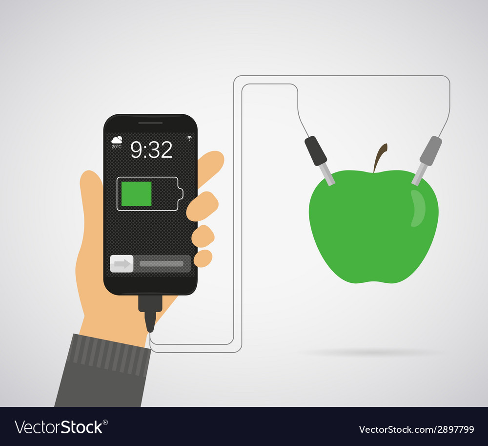 Power from apple for smartphone vector | Price: 1 Credit (USD $1)
