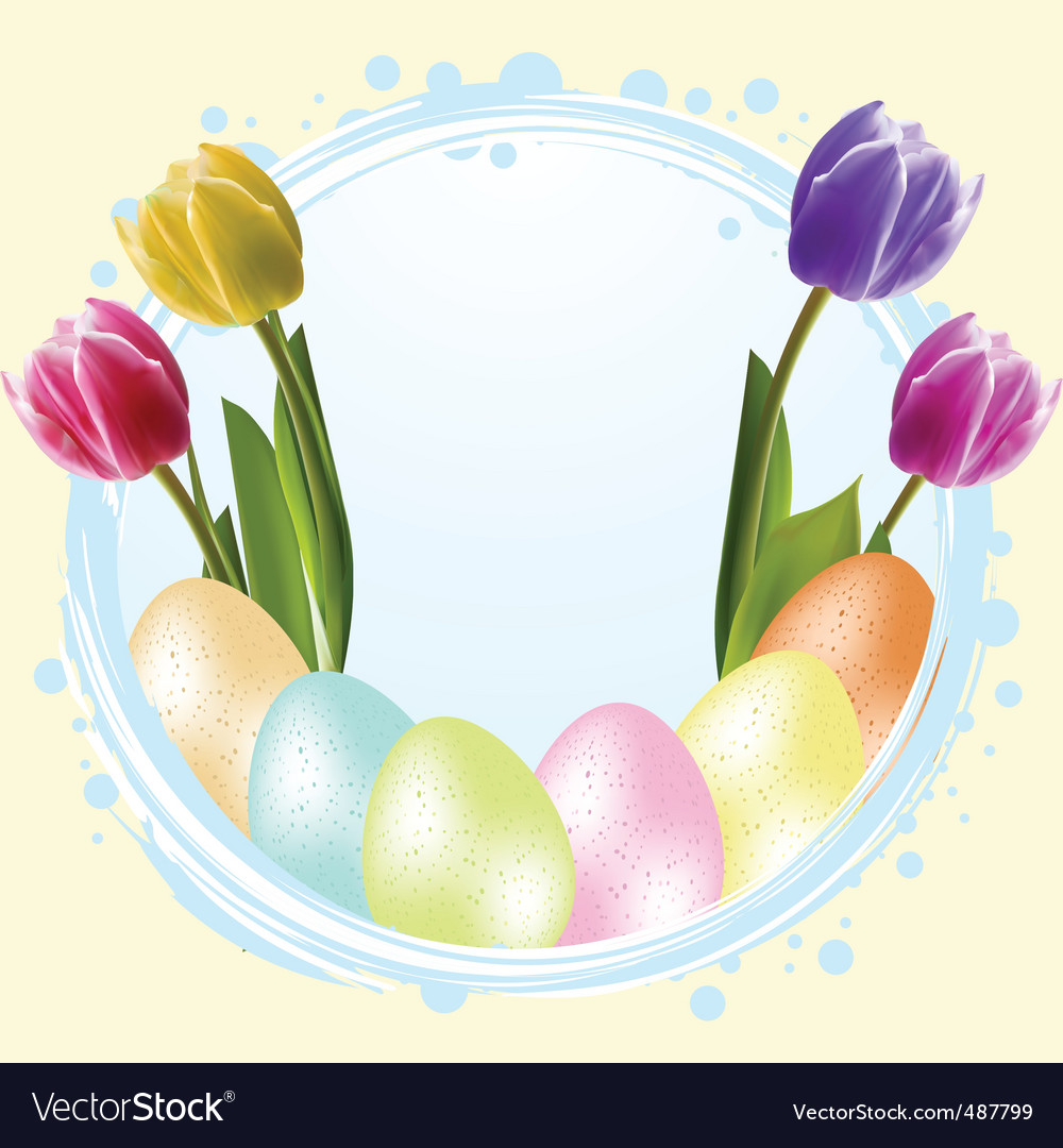 Speckled easter eggs and tulips vector | Price: 1 Credit (USD $1)