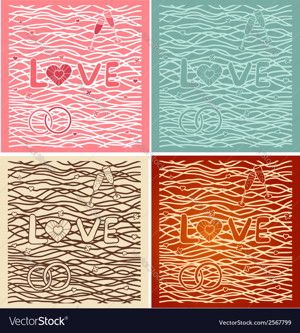The word love in background set of 4 cards vector | Price: 1 Credit (USD $1)