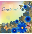 Autumn background with blue flowers butterflies vector