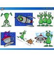 Aliens or martians cartoon characters set vector
