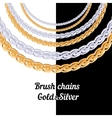 Set of chains metal brushes - gold and silver vector