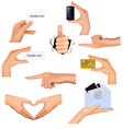 Hands holding different business objects vector