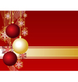 Red christmas card with christmas balls and snowfl vector