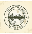 Grunge rubber stamp with montreal quebec vector