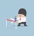 Businessman with scissors cutting a red ribbon vector
