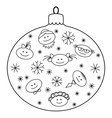 Christmas glass ball with faces contours vector
