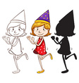 A happy girl with a party hat vector